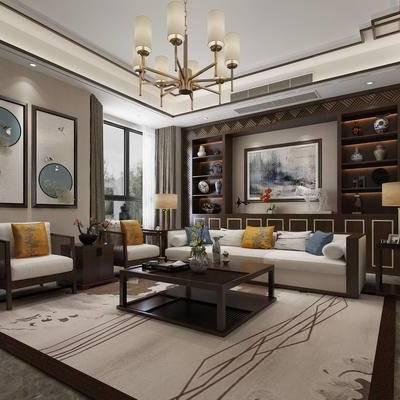 中式客厅, 客厅, 新中式, 中式, 沙发组合, 多人沙发, 单人沙发, 茶几, 边几, 台灯, 吊灯, 置物柜, 装饰柜, 陈设品, 摆件, 装饰画, 挂画