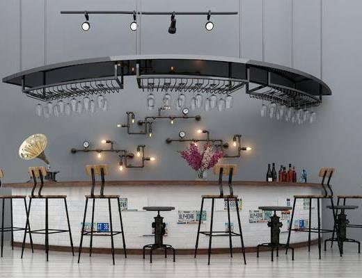 弧形?#21830;? 吧椅, 吊灯, 装饰品, 装饰架, 酒架, 工业风