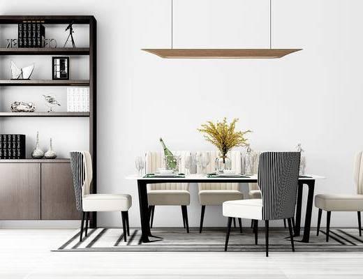 现代, 桌椅组合, 餐桌椅, 餐具, 装饰柜, 吊灯