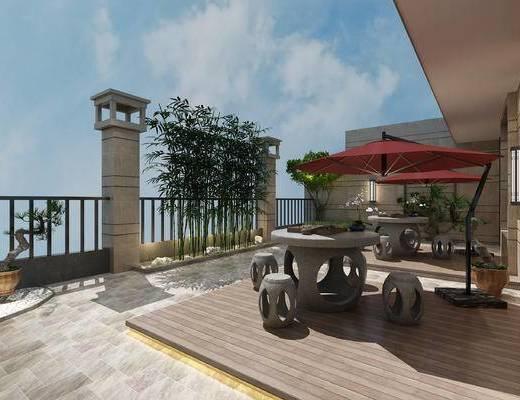 新中式, 别墅, 花园, 阳台, 家装