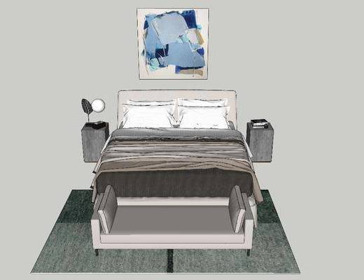 挂画, 单人床, 床具组合, 床尾踏, 床头柜, 地毯