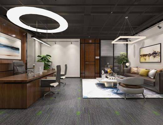 办公区, 办公桌椅组合, 沙发组合, 沙发茶几组合, 吊灯, 盆栽, 绿植植物, 电脑桌椅组合, 摆件组合, 现代