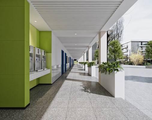 现代, 学校, 走廊, 过道