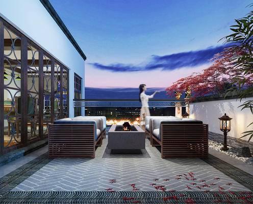 阳台, 沙发组合, 茶几, 植物, 麻将屋