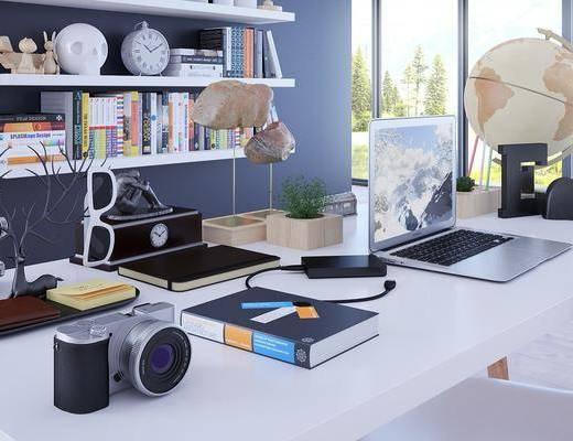 办公室, 现代, 现代办公室, 书架, 书本, 书籍, 书桌, 椅子, 摆件, 装饰品