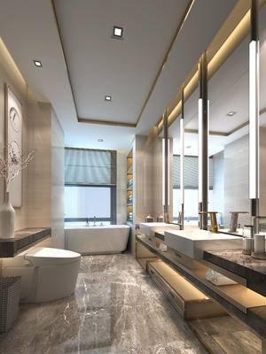 现代中式, 卫生间, 洗手台, 便器, 镜子, 浴缸