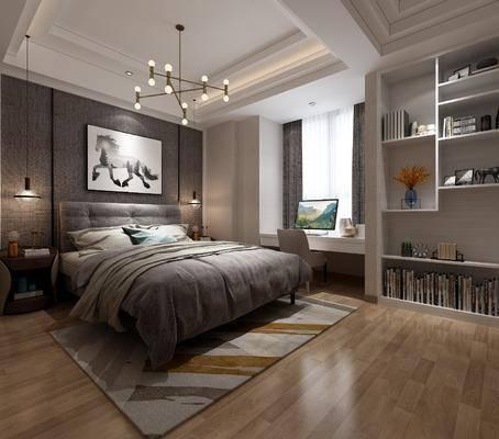 儿童房, 卧室, 床具组合, 装饰柜组合, 摆件组合, 现代
