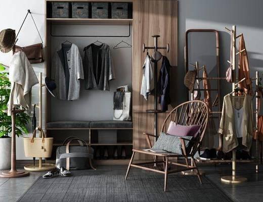 衣柜, 柜架, 鞋柜, 单椅, 衣服, 衣架, 植物, 盆栽, 挂钩, 抱枕, 包包, 鞋子, 落地镜, 针织纱, 帽子, 北欧