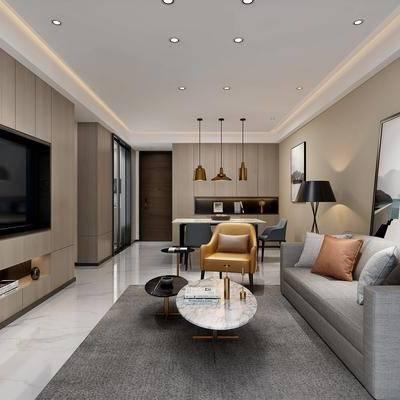 现代客餐厅, 现代, 现代客厅, 现代餐厅, 布艺沙发, 茶几, 电视柜, 吊灯, 装饰画, 电视背景