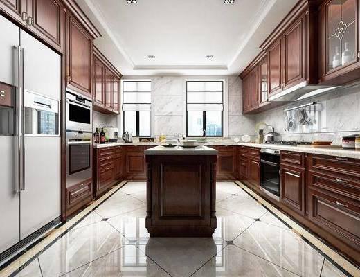 别墅厨房, 橱柜, 厨具, 冰箱, 洗手台, 美式