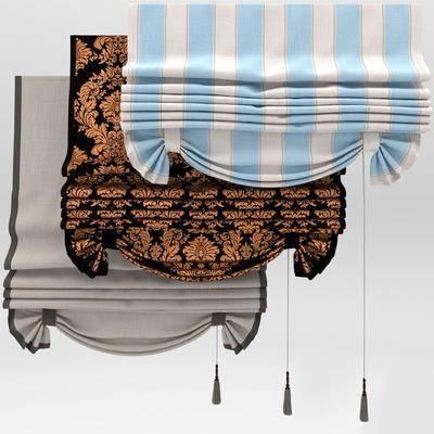 罗马帘, 布艺, 窗帘, 窗纱, 现代窗帘, 组合, 现代