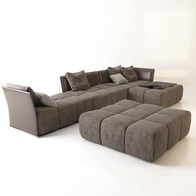 现代转角沙发沙发凳脚踏组合, 现代, 沙发, 布艺沙发, 转角沙发