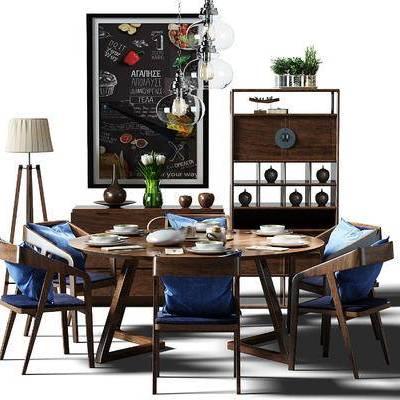 餐桌, 桌椅, 桌椅组合, 餐桌椅, 餐桌椅组合, 黑板, 落地灯, 餐边柜, 边柜, 酒架, 装饰架, 现代, 新中式, 北欧