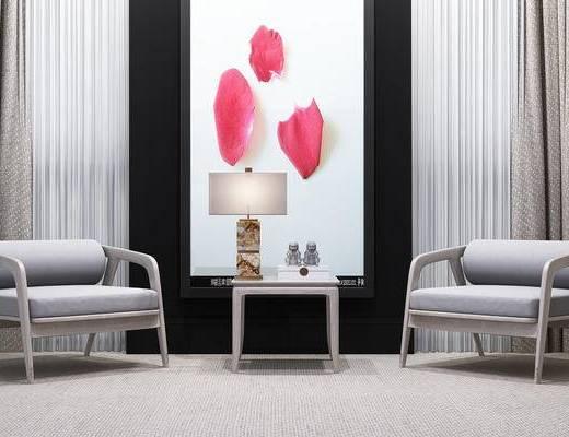 现代, 新中式, 边几, 台灯, 装饰画, 休闲椅, 休闲沙发, 单椅