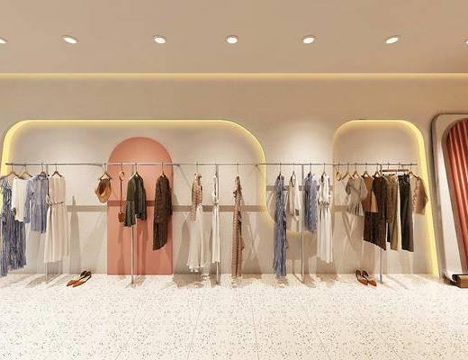 现代, 服装店, 货架, 服饰