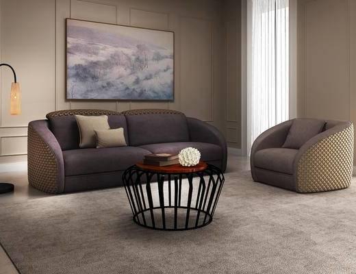北欧, 沙发, 茶几, 落地灯