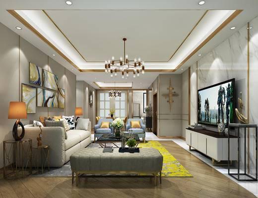 现代客厅, 港式客厅, 样板房, 现代沙发, 现代餐桌, 现代吊灯, 吊灯