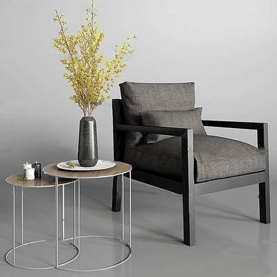 现代简约, 深灰色, 单人椅, 边几组合, 现代