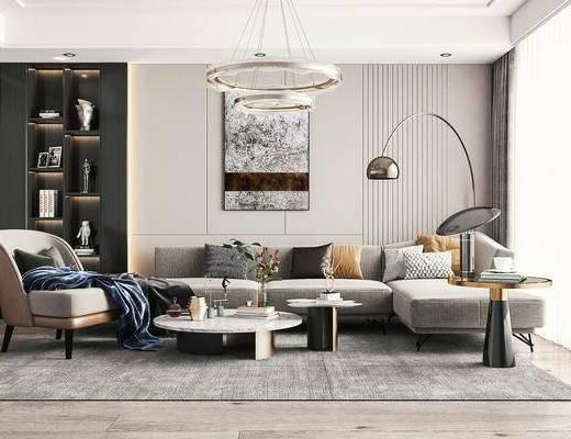 现代轻奢, 客厅, 多人沙发, 单椅, 吊灯, 落地灯, 边几
