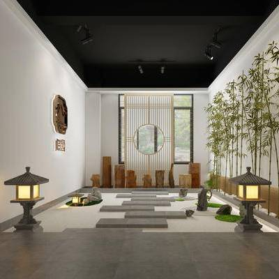 庭院, 景观, 禅意, 日式, 灯塔