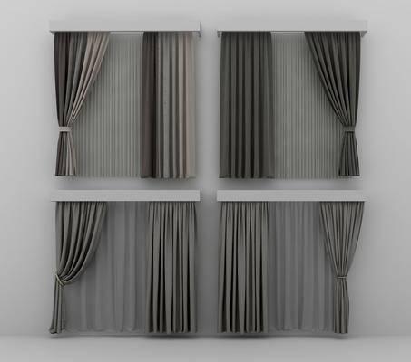 窗帘, 布艺窗帘, 窗帘窗纱, 现代窗帘窗纱, 灰色窗帘, 客厅窗帘, 艺术窗帘