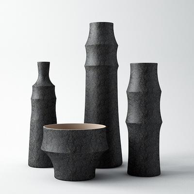现代, 黑色, 陶罐, 单体, 摆件