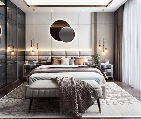 双人床, 吊灯, 床尾踏, 衣柜, 床头柜, 台灯