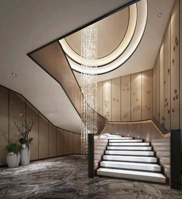 楼梯间, 楼梯玄关, 中式