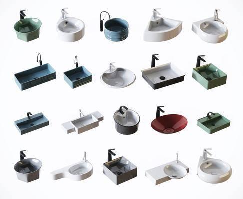 洗手盆组合, 台盆组合, 现代