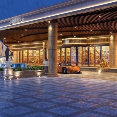 酒店入口, 车, 现代