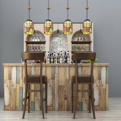吧台, 酒瓶, 椅子, 酒柜, 吊灯, 美式