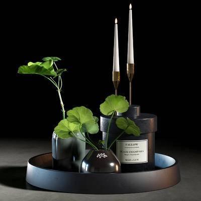 花瓶, 托盘, 盆栽, 摆件组合