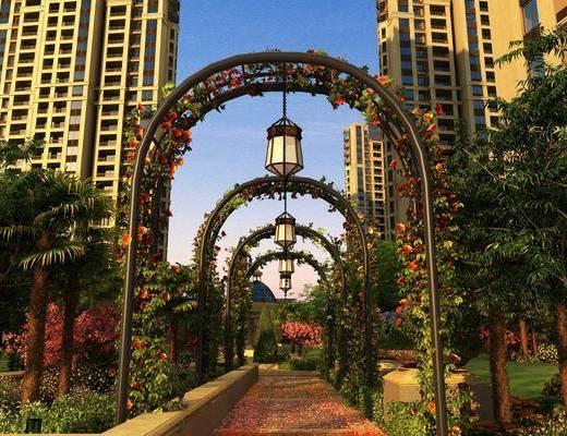 园林景观, 商业楼盘, 树木, 绿植植物, 吊灯, 花卉, 门面门头, 现代