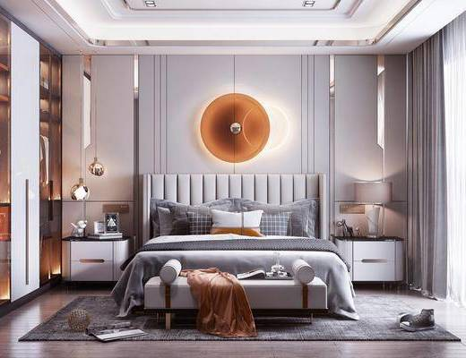 衣柜, 床头柜, 沙发凳, 吊灯, 装饰品, 摆件, 窗帘