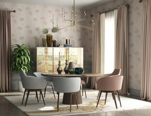 北欧餐厅, 北欧, 餐厅, 餐桌椅, 装饰柜, 植物, 现代吊灯, 窗帘
