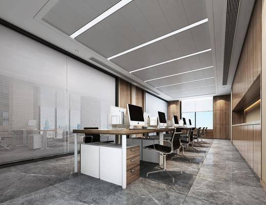 现代, 办公室, 椅子, 办公桌