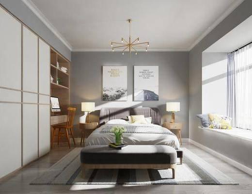 卧室, ?#39184;?#26588;, 台灯, 吊灯, 衣柜, 装饰画, 挂画, 床尾凳, 书桌, 单人椅, 北欧