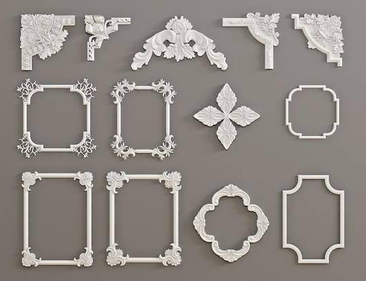 石膏雕刻, 雕花單花, 對角花, 構件, 歐式