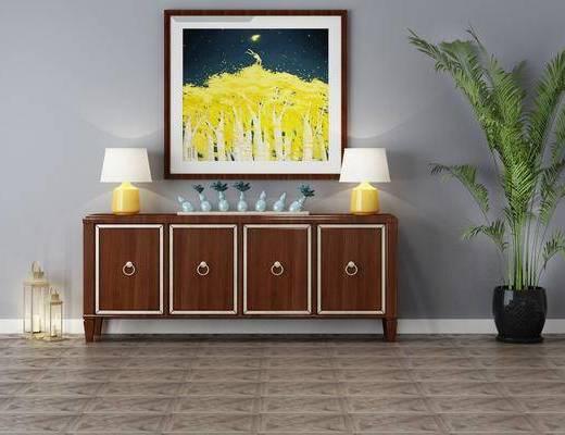 边柜, 台灯, 摆件组合, 装饰画, 植物盆栽