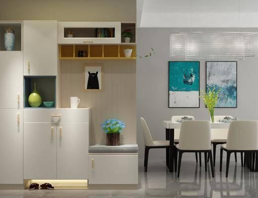 餐桌, 餐椅, 橱柜, 吊灯, 现代, 装饰画, 摆件