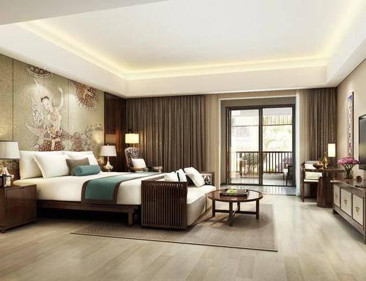酒店客房, 双人床, 床头柜, 台灯, 茶几, 多人沙发, 单人沙发, 电视柜, 边柜, 单人椅, 装饰画, 挂画, 落地灯, 摆件, 装饰品, 陈设品, 东南亚