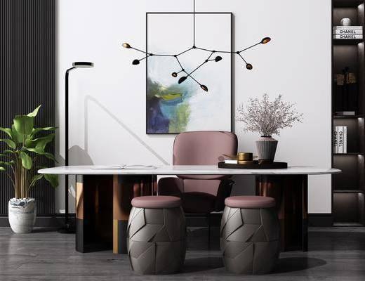 艺术吊灯, 挂画, 绿植盆栽, 桌椅组合