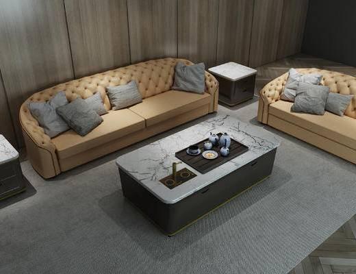 沙发组合, 后现代, 多人沙发, 现代, 沙发, 茶几, 边几, 地毯