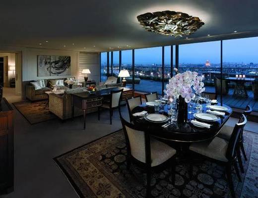 酒店, 套房, 客房, 香格里拉, 古典, 沙发, 桌椅