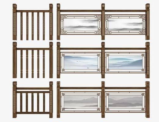 新中式护栏, 新中式栏杆, 护栏, 栏杆, 新中式