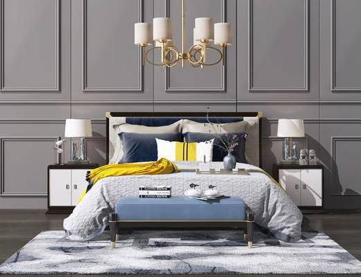 吊灯, 床具组合, 墙饰, 双人床, 床头柜, 地毯