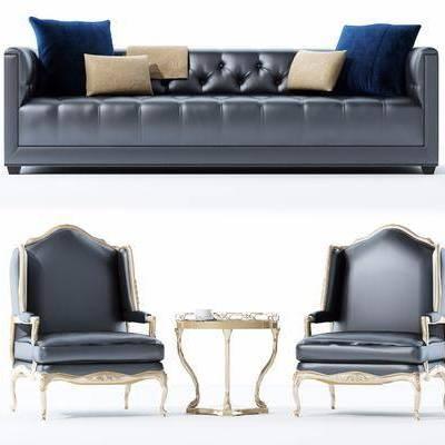 欧式皮质沙发, 欧式, 皮沙发, 椅子