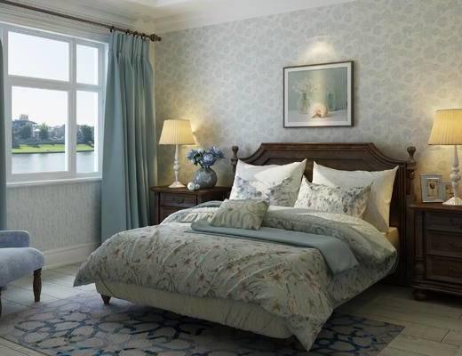 卧室, 美式卧室, 床, 床头柜, 窗帘, 美式田园