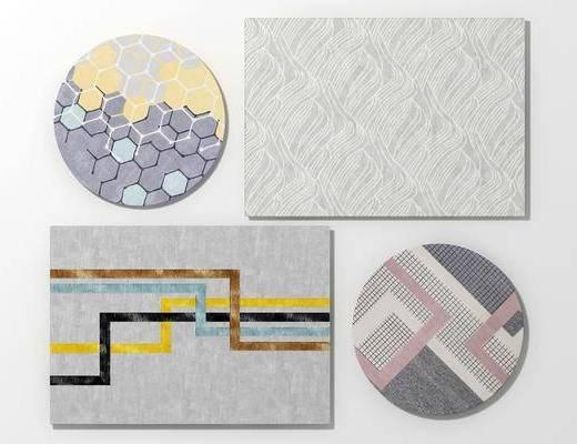 地毯, 圆形地毯, 方形地毯, 现代北欧地毯组合3d模型