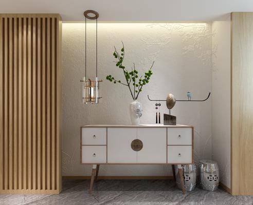 边柜, 装饰柜, 吊灯, 凳子, 摆件, 装饰品, 陈设品, 新中式